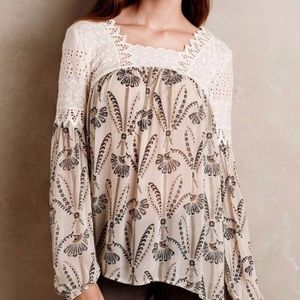 Anthropologie Floreat floral lace peasant blouse 6